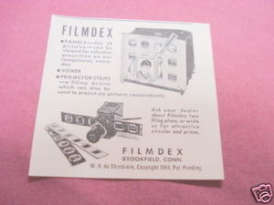 1947 Ad Filmdex Panels, Viewer, Projection Strips