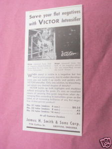 1947 Ad Victor Intensifier For Negatives James H. Smith