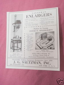 1949 Ad Saltzman Enlargers for Photos, J. G. Saltzman