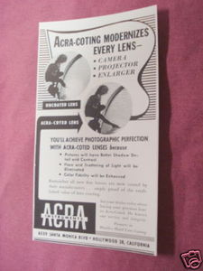 1949 Ad Acra-Coted Lenses, Acra Instruments
