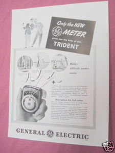 1949 Ad G-E Trident Exposure Meter General Electric