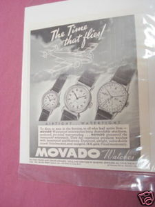1941 Ad Movado Watches The Time That Flies!
