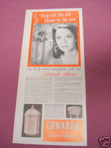 1941 Ad Edwards Door Chimes featuring Dinah Shore