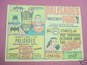 1970 Palisades Amusement Park Ad Superman, Batman