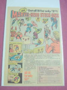 1974 Ad Marvel Super-Hero Stick-Ons Spider-Man, Thor