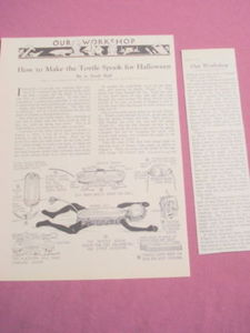 1931 Two Page How to Make The Wind-Up Toytle Spook Toy