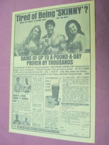 1970 Ad Joe Weider Crash Weight Gaining Plan