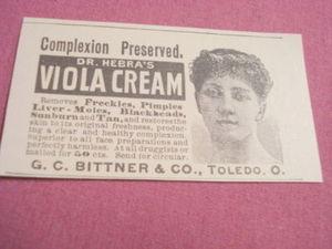 1893 Ad Dr. Hebra's Viola Cream Bittner & Co., Toledo