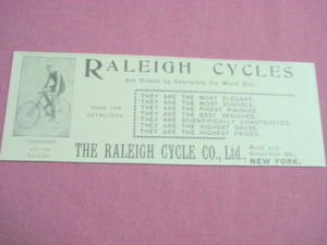 1893 Ad Raleigh Cycles Featuring Champion Zimmerman