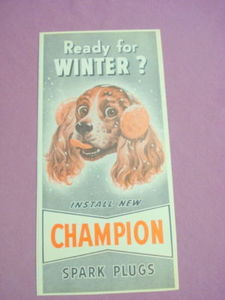 1949 Ad Champion Spark Plugs Featuring a Cocker Spaniel