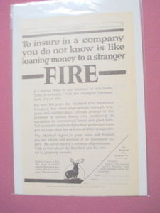 1915 Ad The Hartford Fire Insurance Co. With Stag Logo