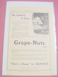 1915 Grape-Nuts Food Ad There's a Reason for Grape-Nuts