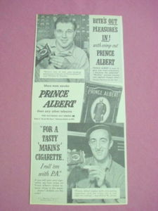 1940s/50s Ad Prince Albert Tobacco Bite's Out