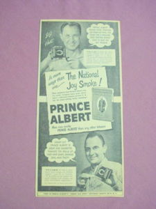 1940s/50s Ad Prince Albert Tobacco National Joy Smoke