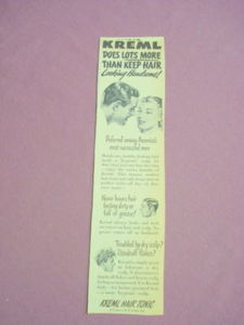 1940s/50s Ad Kreml Hair Tonic Does Lots More