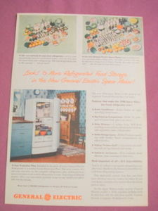 Late 1940s Ad General Electric Space Maker Refrigerator