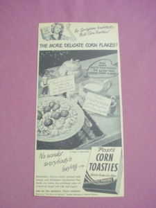 Late 1940's Ad Post's Corn Toasties General Foods