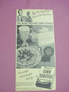 Late 1940's Ad Post's Corn Toasties Tops For Breakfast