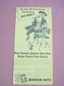 Late 1940's Quaker Oats Ad With Ice Skaters