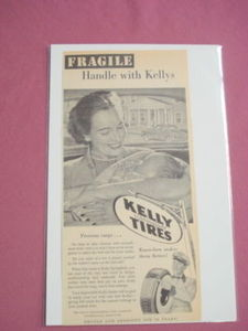 1940s/50s Kelly Springfield Tires Ad With Mother & Baby