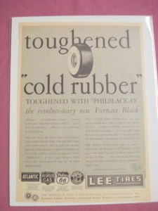 1940s/50s Lee Tires Ad Toughened Cold Rubber