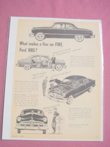 1950 Ford Ad What Makes A Fine Car Fine, Ford Has!