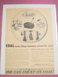 1940s/50s Ad Bituminous Coal Institute Count on Coal
