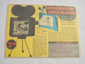 1957 Ad Mickey Mouse Sound Projector and Theatre