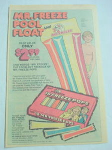 1980 Ad Mr. Freeze Pops Pool Float