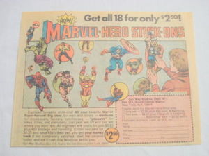1974 Ad Marvel-Hero Stick-Ons Spider-Man, Hulk, Conan