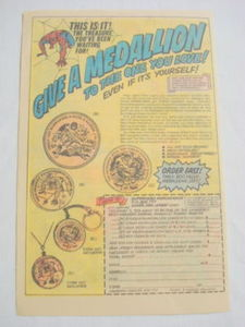 1976 Ad Marvel Medallions Spider-Man, Conan, Thing