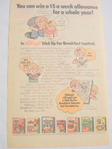 1975 Ad Kellogg's Cereals Stick Up For Breakfast