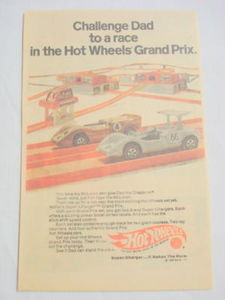 1969 Ad Mattel Hot Wheels Grand Prix Set