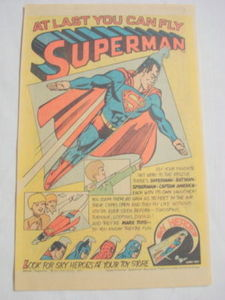 1977 Ad Marx Toys Sky Heroes Superman, Spider-Man