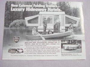 1981 Ad Coleman Hiding Trailers..Luxury Hideaway Hotels