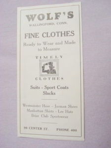 1941 Ad Wolf's, Wallingford, Ct. Fine Clothes