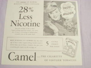 1941 Camel Cigarettes Ad 28% Less Nicotine