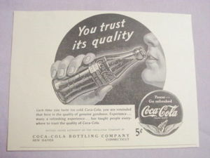 1941 Ad Coca-Cola Bottling Co., New Haven, Ct.