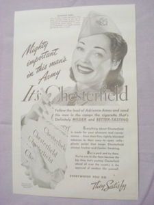 1941 Chesterfield Cigarettes Ad Featuring Adrienne Ames