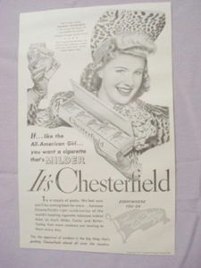 1941 Chesterfield Cigarettes Ad With Marjorie Woodworth