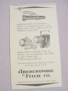 1941 Flashlight Ad Abercrombie & Fitch Co., New York