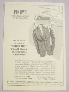 1941 Ad John David, Clothes for the College Man