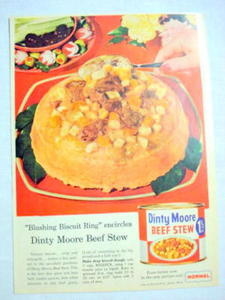 1957 Ad Dinty Moore Beef Stew, Hormel, Austin, Minn.