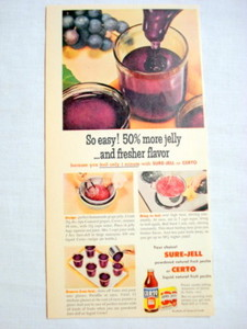 1957 Ad Sure-Jell and Certo General Foods + Recipe