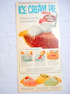 1957 Ad Jell-O Instant Pudding + Ice Cream Pie Recipe