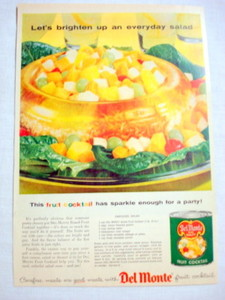1957 Ad Del Monte Fruit Cocktail, Carousel Salad Recipe