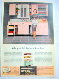 1957 Ad Republic Steel Kitchens, Canton, Ohio
