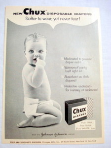 1957 Ad Chux Disposable Diapers Johnson & Johnson