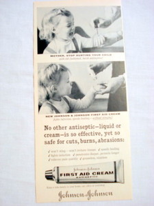 1957 Ad Johnson & Johnson Antiseptic First Aid Cream