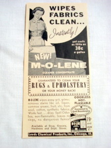 1957 Ad M-O-Lene Cleaner Concentrate, Leeds Chemical